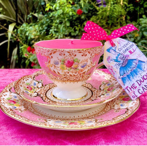 1940s Rare English Salisbury Tudor Rose Pink Teacup trio Soy candle