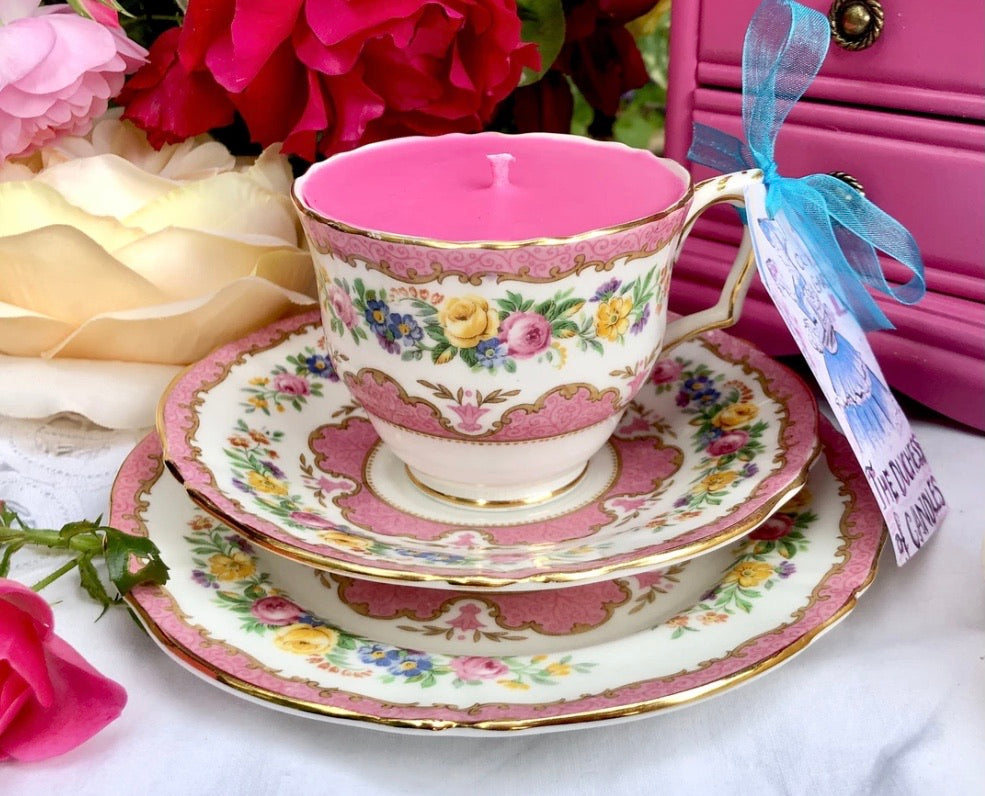 Stunning Pink 'Lyric' Crown Staffordshire Teacup trio Scented Soy Candle