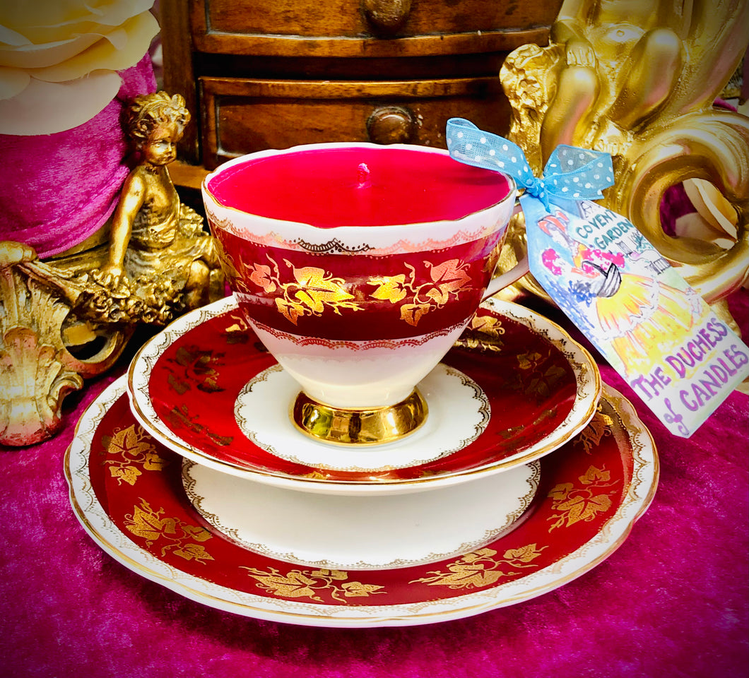 Gladstone deep Burgundy Red Teacup trio scented Soy Candle