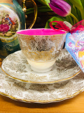 Load image into Gallery viewer, Pretty 1940s Colclough Gold Leaf Chintz Soy scented Teacup