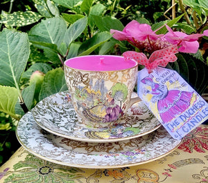 Stunning Nelson ware 1930s Crinoline lady in a purple dress teacup scented soy candle