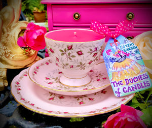 Royal Tuscan 'Charmaine' baby pink Vintage teacup Soy Candle trio set
