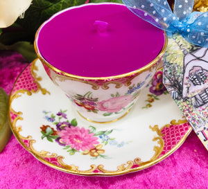 Stunning Collectors 'Aynsley' Pink and Floral Coffee cup Scented Soy Candle
