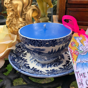 Vintage Blue & White English Country scented Soy Teacup Duo