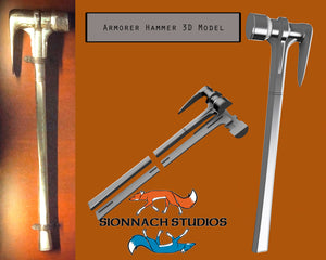 Hammer inspired by The Armorer Blacksmith (from The Mandalorian) Prop Replica STL Files for 3D Printing