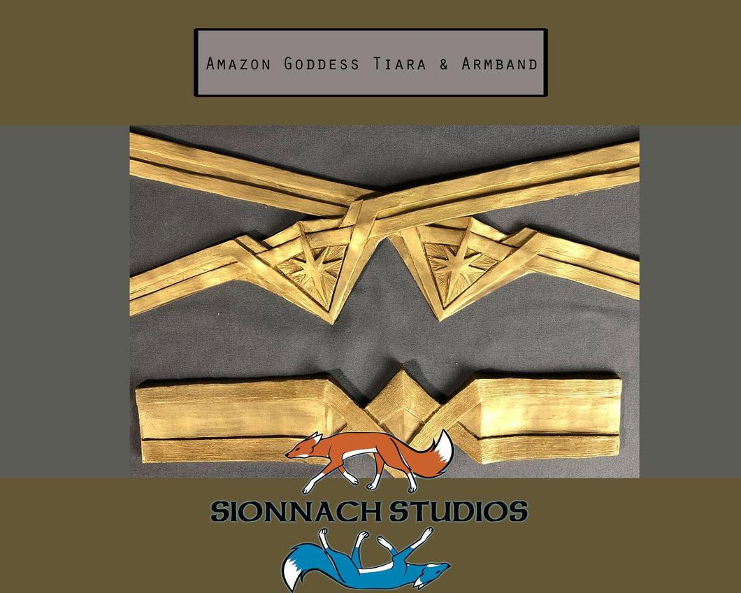 Amazon Goddess - Wonder Woman Inspired - Flexible Tiara and Armband