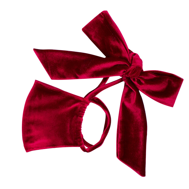Burgundy Velvet Bow Face Mask MF00008