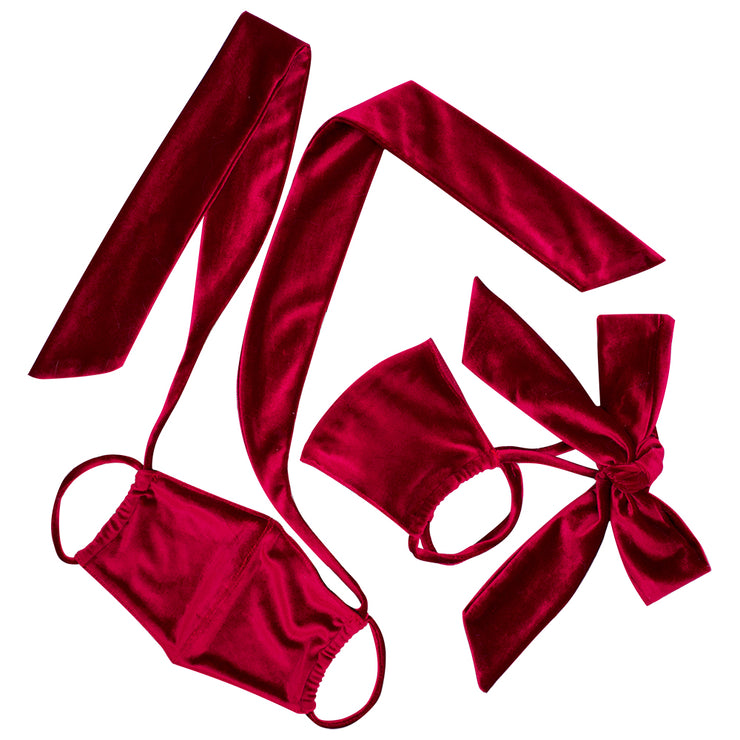 Pre-Order Burgundy Velvet Bow Face Mask MF00008