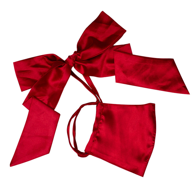 Red Satin Bow Face Mask MF00006