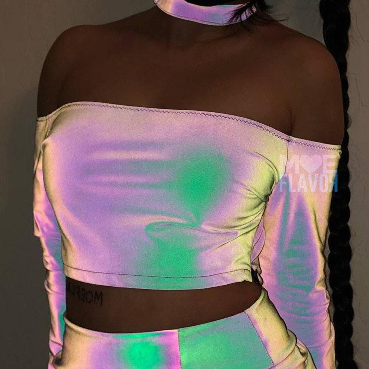 Reflective Rainbow Collar Top Ring Strap Skirt MF01006
