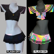 Reflective Rainbow Sailor Swimsuit Black MF01100