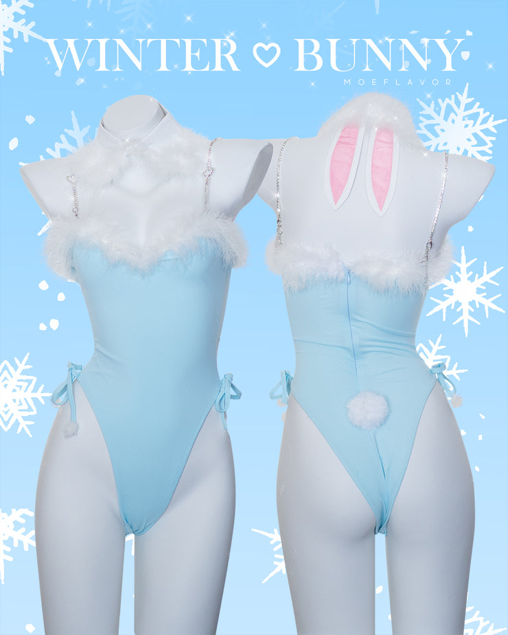 Winter Bunny Heart Rhinestone Bodysuit