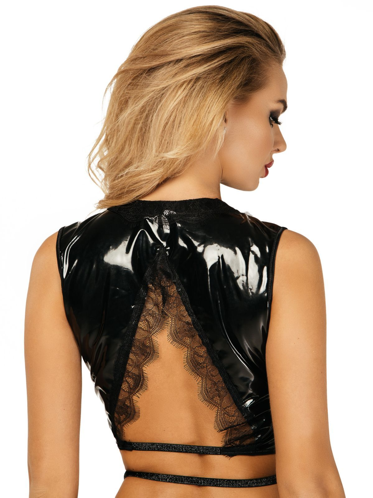 Patent vinyl vest with lace