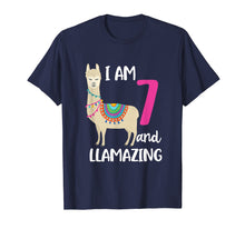 Load image into Gallery viewer, Funny shirts V-neck Tank top Hoodie sweatshirt usa uk au ca gifts for 7th Birthday Llama I'm 7 Years Old and Llamazing T-Shirt 1402475