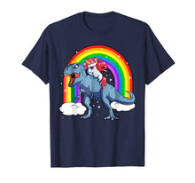 Load image into Gallery viewer, Funny shirts V-neck Tank top Hoodie sweatshirt usa uk au ca gifts for Men's Women's T Shirt Rainbow Unicorn Rides on Dinosaurs 147378