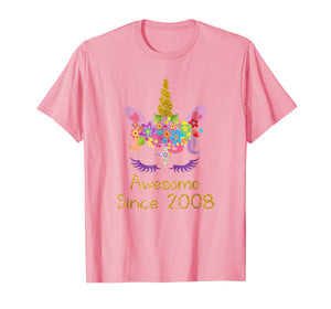 Funny shirts V-neck Tank top Hoodie sweatshirt usa uk au ca gifts for Cute 11th Birthday Unicorn Girls Tshirt, Awesome since 2008 1012434