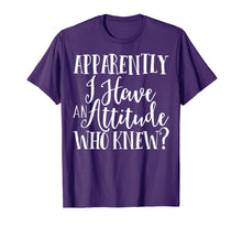 Load image into Gallery viewer, Funny shirts V-neck Tank top Hoodie sweatshirt usa uk au ca gifts for Apparently I Have An Attitude Funny T-Shirt sarcastic 1446632