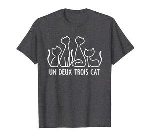 Funny shirts V-neck Tank top Hoodie sweatshirt usa uk au ca gifts for Un Deux Trois Cat T Shirt Funny Cute French Kitty Gift Women 1127334