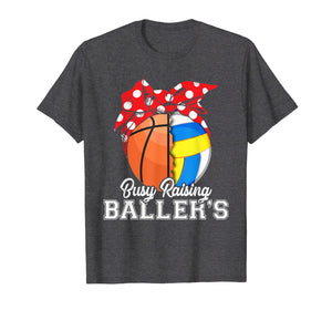 Funny shirts V-neck Tank top Hoodie sweatshirt usa uk au ca gifts for Busy raising ballers basketball volleyball Tshirt for women 1923570