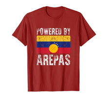 Load image into Gallery viewer, Funny shirts V-neck Tank top Hoodie sweatshirt usa uk au ca gifts for Powered by Arepas T-Shirt. Funny Venezuela Colombia Gift Tee 1100960