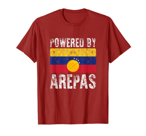 Funny shirts V-neck Tank top Hoodie sweatshirt usa uk au ca gifts for Powered by Arepas T-Shirt. Funny Venezuela Colombia Gift Tee 1100960