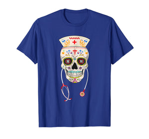 Funny shirts V-neck Tank top Hoodie sweatshirt usa uk au ca gifts for Nurse Sugar Skull Shirt Halloween Day Of The Dead Costume 1119796