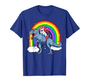 Funny shirts V-neck Tank top Hoodie sweatshirt usa uk au ca gifts for Men's Women's T Shirt Rainbow Unicorn Rides on Dinosaurs 147378