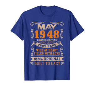 Funny shirts V-neck Tank top Hoodie sweatshirt usa uk au ca gifts for Vintage 71th Birthday May 1948 Shirt 71 Years Old Gift 1355879