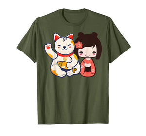 Funny shirts V-neck Tank top Hoodie sweatshirt usa uk au ca gifts for Maneki Neko Lucky Beckoning Cat with cute girl t-shirt 1047449
