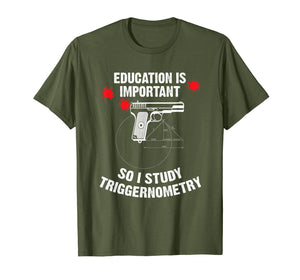 Funny shirts V-neck Tank top Hoodie sweatshirt usa uk au ca gifts for Gun Education - 2nd Amendment - I Study Triggernometry Guns T-Shirt 2482502