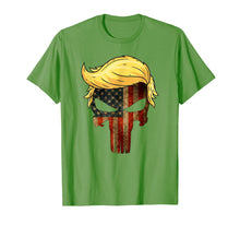 Load image into Gallery viewer, Funny shirts V-neck Tank top Hoodie sweatshirt usa uk au ca gifts for Skull with iconic Trump Hair president Flag America T-shirt 2630215