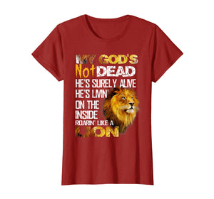 Funny shirts V-neck Tank top Hoodie sweatshirt usa uk au ca gifts for My God's Not Dead Lion Christian Christ Cross Faith T-Shirt 1019269
