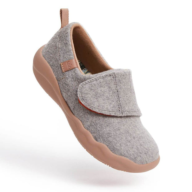 UIN Footwear Kid (Pre-sale) Toledo II Light Grey Wool Kid Canvas loafers