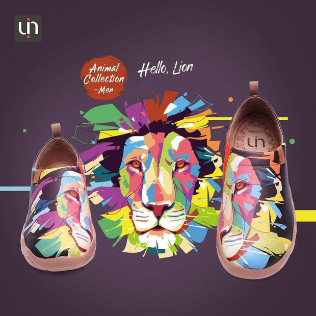 UIN Footwear Men -Hello, Lion- Multicolored Flats For Men Canvas loafers