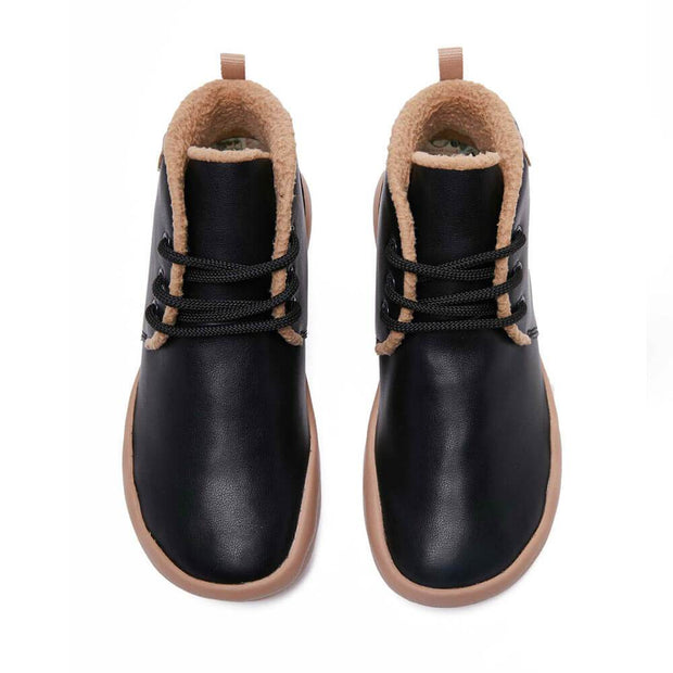 UIN Footwear Men (Pre-sale) Bilbao Black Split Leather Lace-up Boots Men Canvas loafers