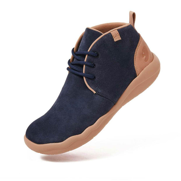 UIN Footwear Men (Pre-sale) Bilbao Deep Blue Cow Suede Lace-up Boots Men Canvas loafers