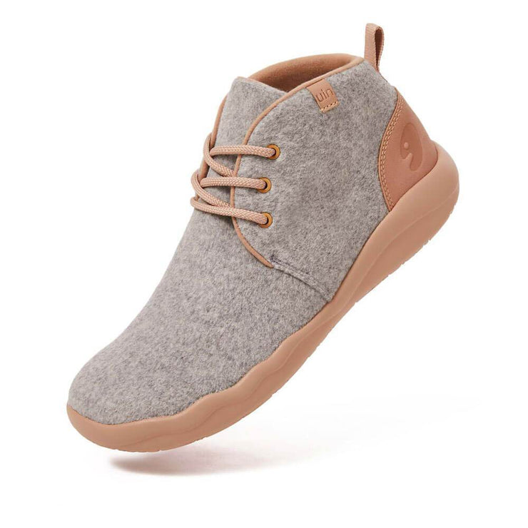 UIN Footwear Men (Pre-sale) Bilbao Light Grey Wool Lace-up Boots Men Canvas loafers