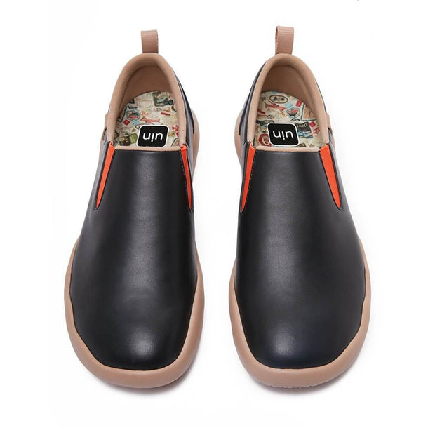 UIN Footwear Men (Pre-sale) Cuenca Black Split Leather Men Canvas loafers