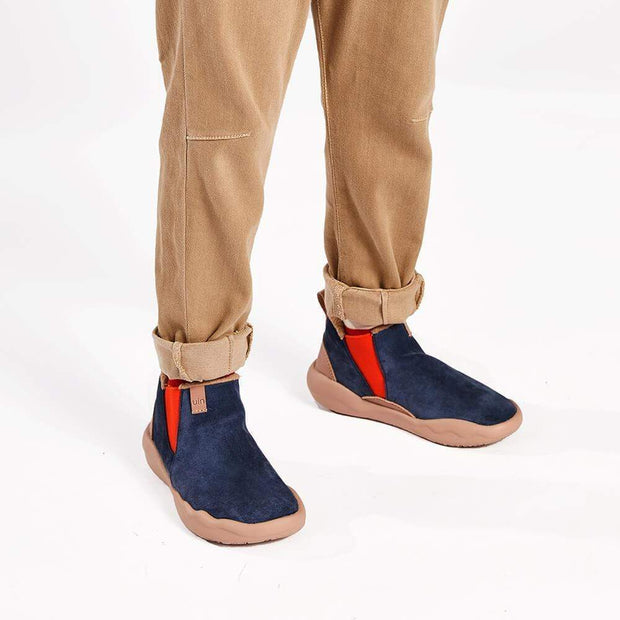 UIN Footwear Men (Pre-sale) Granada Deep Blue Cow Suede Boots Men Canvas loafers