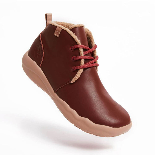 UIN Footwear Women (Pre-sale) Bilbao Burgundy Split Leather Lace-up Boots Women Canvas loafers