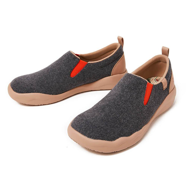 UIN Footwear Women (Pre-sale) Cuenca Deep Grey Wool Women Canvas loafers