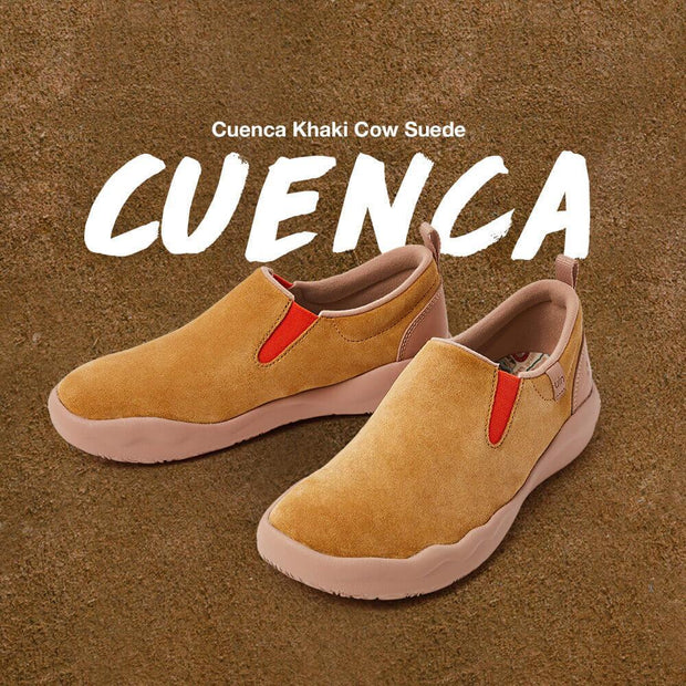UIN Footwear Women (Pre-sale) Cuenca Khaki Cow Suede Women Canvas loafers