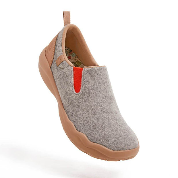 UIN Footwear Women (Pre-sale) Cuenca Light Grey Wool Women Canvas loafers