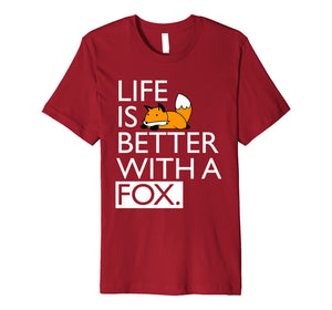 Funny shirts V-neck Tank top Hoodie sweatshirt usa uk au ca gifts for Life Is Better With A Fox Kawaii T-shirt 2074052