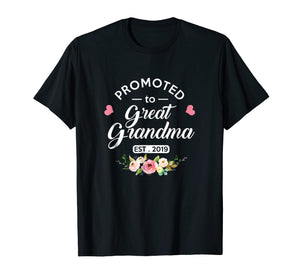 Promoted to Great Grandma Est 2019 New Grandma To Be Shirt
