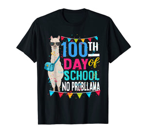Funny shirts V-neck Tank top Hoodie sweatshirt usa uk au ca gifts for 100 Days Of School No Probllama Funny Llama Tshirt 2044575