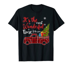 Red Plaid Truck and Christmas Tree Light-Truck Christmas T-Shirt
