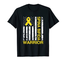 Laden Sie das Bild in den Galerie-Viewer, Spina Bifida Warrior Awareness Gift USA Flag Yellow Ribbon  T-Shirt