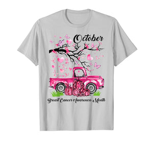 Pumpkin Pink Truck Breast Cancer Awareness Month October T-Shirt