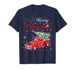 Funny shirts V-neck Tank top Hoodie sweatshirt usa uk au ca gifts for Red Truck Merry Christmas Tree Vintage Red Pickup Truck Tee 1334011